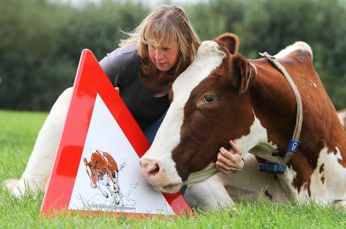 Tine van Houselt met gestolen verkeerdbord met daarop Wendie19 en een van haar eigen koeien. ,,Degene die het bord heeft meegenomen, moet wel haast grof gereedschap hebben gebruikt.''