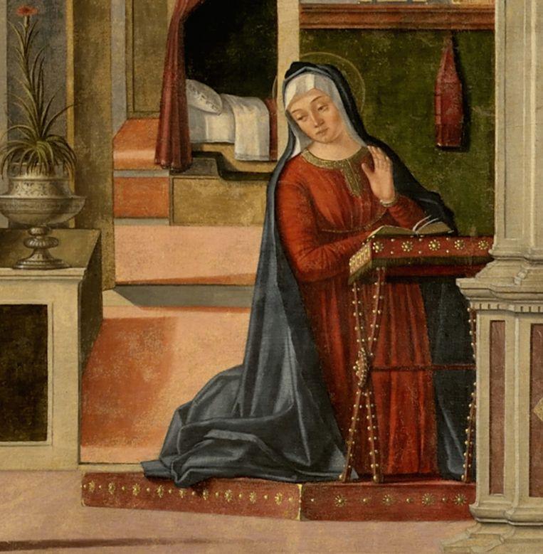 Carpaccio-rood in de mantel van Maria, in De Aankondiging, ook in Galeria Franchetti Ca' D' Oro, Venetië. Beeld Galeria Franchetti Ca' D' Oro, Venetië.