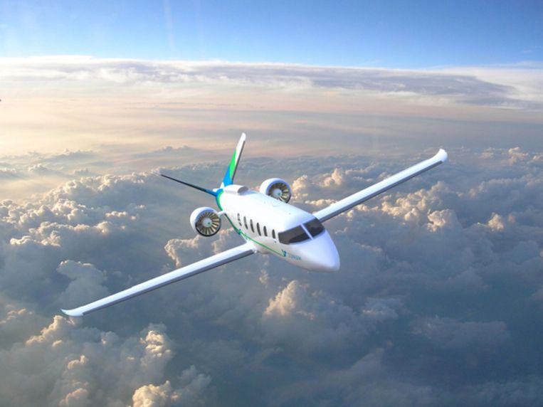 Prototype van een vliegtuig dat zich deels elektrisch voortbeweegt. Beeld Reuters