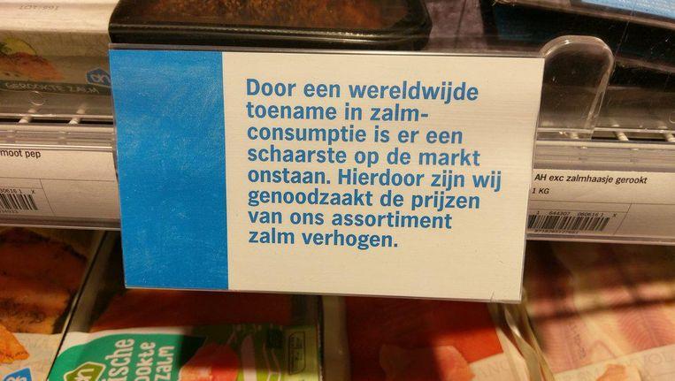 Albert Heijn excuseert zich tegenover klanten voor de gestegen prijs van zalm. Beeld