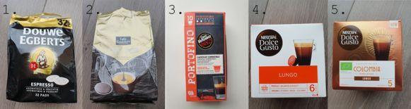 Van links naar rechts:  1. Douce Egberts Espresso 2. Caffè Gondolière Extra Dark 3. Alles van Caffè Vergnano 4. Nescafé Dolce Gusto Lungo 5. Nescafé Dolce Gusto Colombia