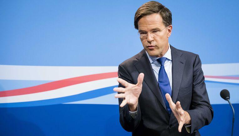 Premier Mark Rutte tijdens de persconferentie na afloop van de wekelijkse ministerraad. Beeld ANP