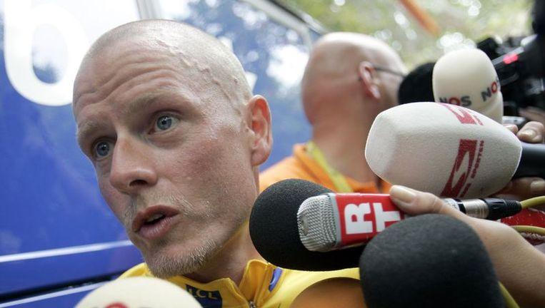 Rasmussen toen hij nog in de Tour deelnam. Rasmussen bezorgde de Rabobank wielerploeg het meest chaotische dopingschandaal aller tijden. Foto GPD Beeld