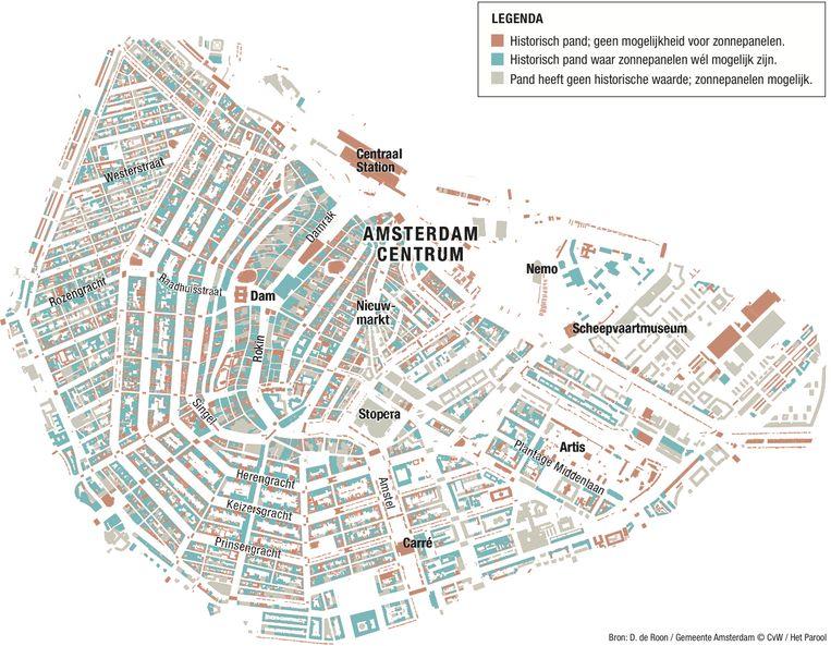 Ruim twee derde van de panden in Amsterdam-Centrum komt in aanmerking voor zonnepanelen. Beeld Het Parool/CvW