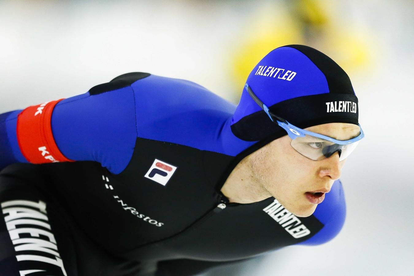 Marcel Bosker in actie op de 5000 meter vtijdens het NK Allround in Thialf.