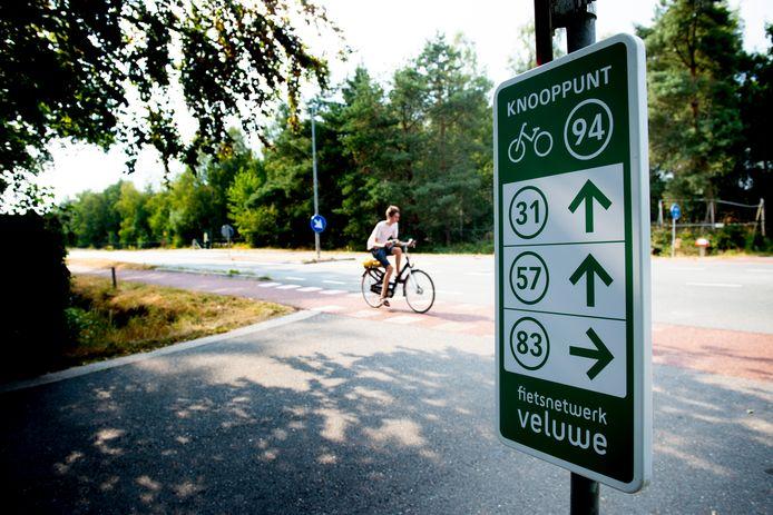 Een van de fietsknooppunten op de Veluwe.