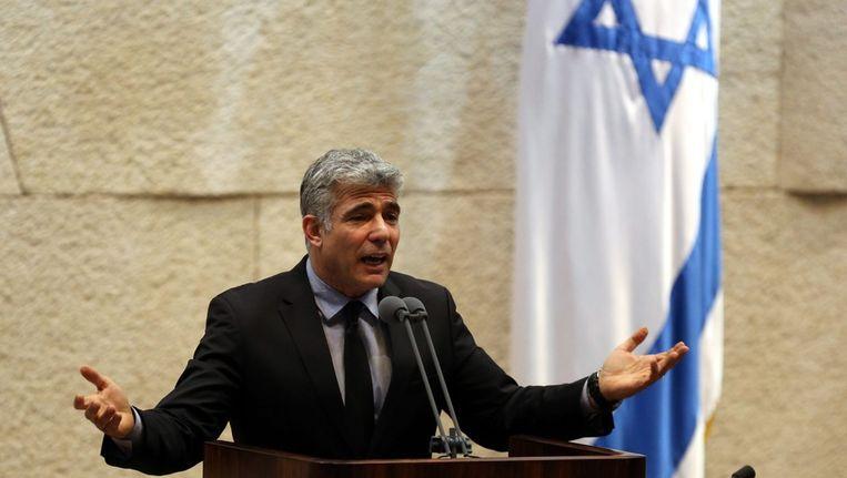 De Israëlische minister van financiën Yair Lapid eerder dit jaar in de Knesset, het Israëlisch parlement. Beeld epa