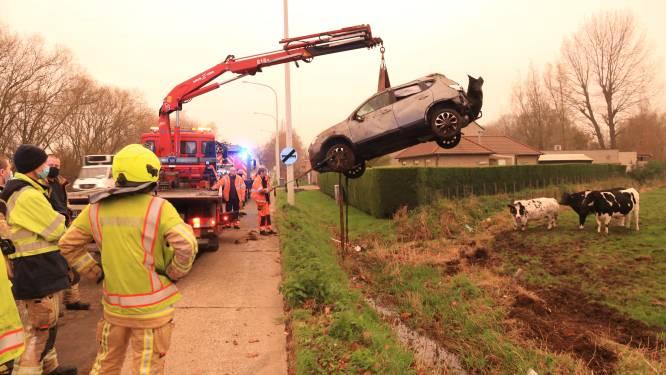 Wagen gaat over de kop in weiland naast N70, bestuurder ongedeerd
