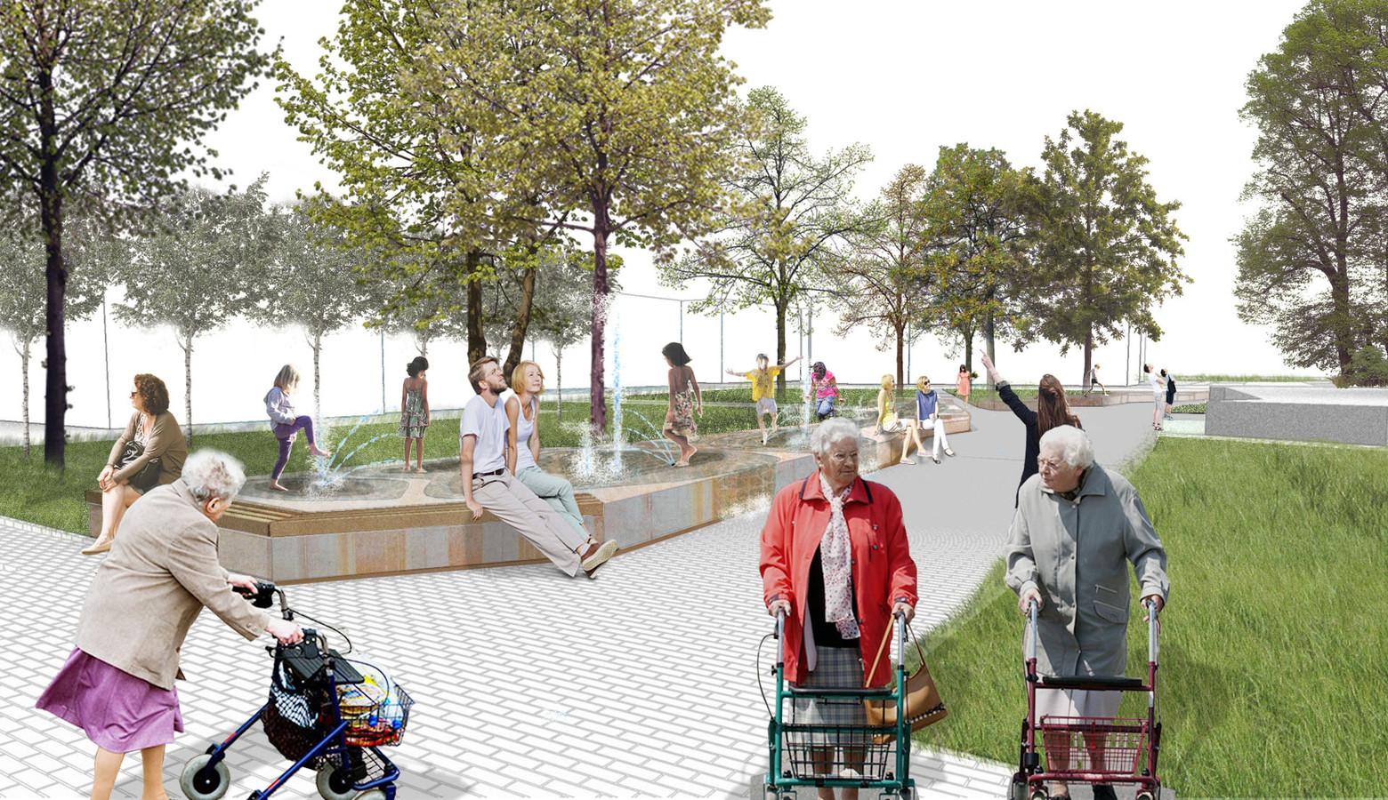Een impressie van het vernieuwde Sint Wilbertsplein in Bakel.