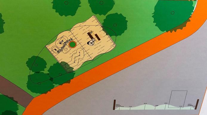 De Literaire Speeltuin in het Burgemeester Geukerspark in Helmond moet de vorm van een opengeslagen boek krijgen.