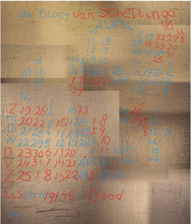 De aangetroffen inscriptie op het geplamuurde stuk muur, met onderaan: 'Eisch 11/9/45 Dood'. De twee kleuren geven weer welk deel met welke techniek zichtbaar is gemaakt. Beeld Heritage Science/TU Delft