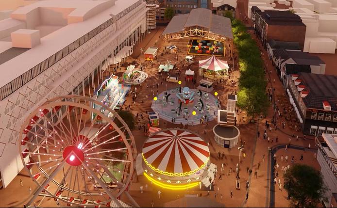 De ontwerpers van het nieuwe Marktplein maakten deze impressie van de toekomstige situatie.