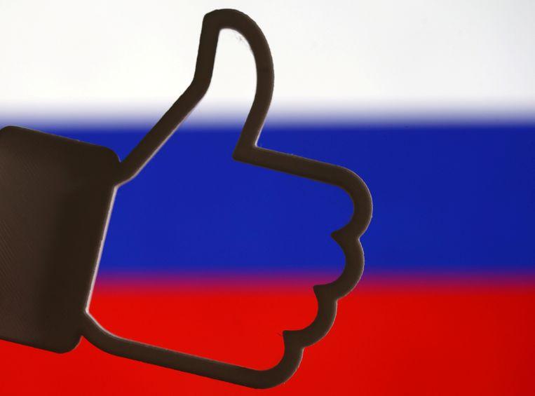 Een like van Facebook voor een Russische vlag.  Beeld Reuters