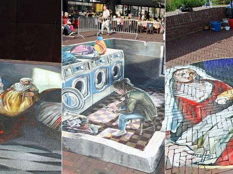 Fotogalerij: Deze straattekeningen sieren de Delftse binnenstad