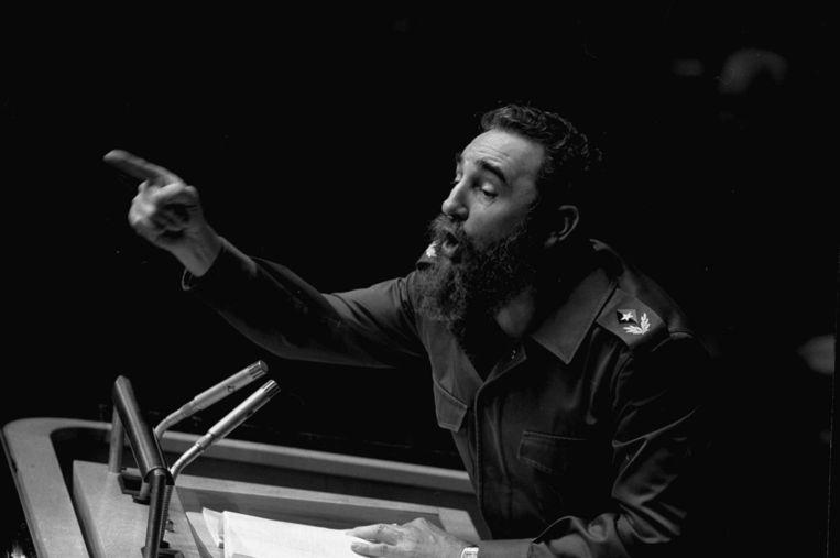 Castro tijdens één van zijn bevlogen, urenlange speeches.