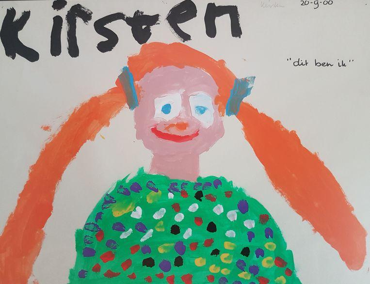 Een zelfportret gemaakt door Kirsten op haar vijfde. Beeld -