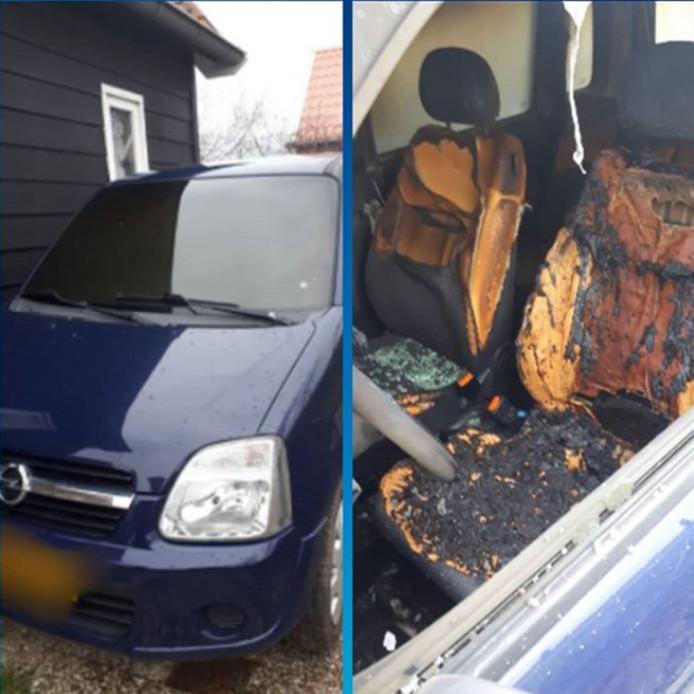 De auto werd in brand gestoken