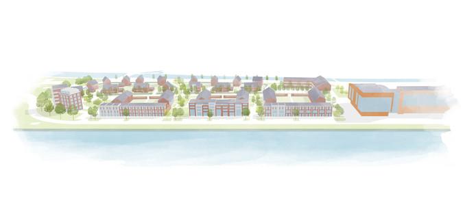 Een schets van de nieuwe woonwijk Kop van Oost in Lochem.