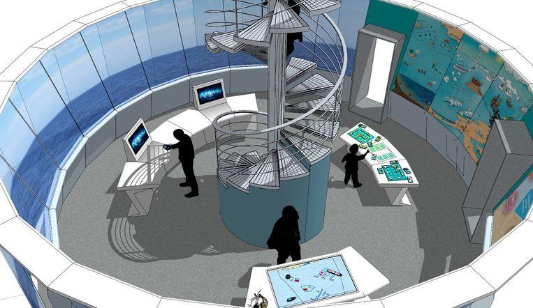 In de toekomstige controlekamer zal de bezoeker via spelletjes meer leren over de gebruikers van de Noordzee.