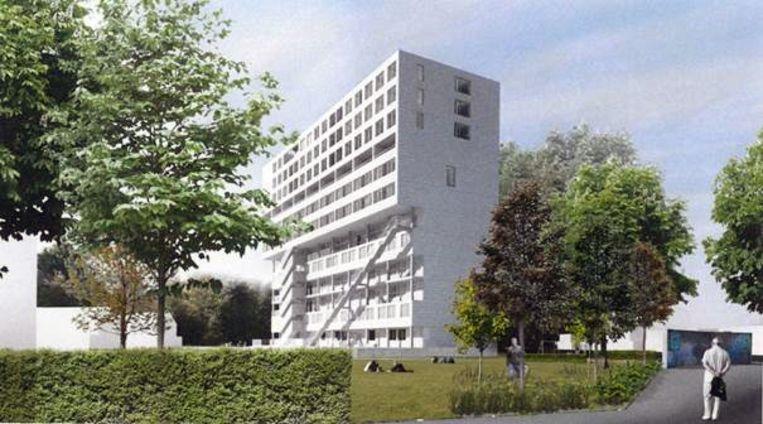 Een simulatie van de toekomstige Albertbuilding in wijk Casablanca in Kessel-Lo.