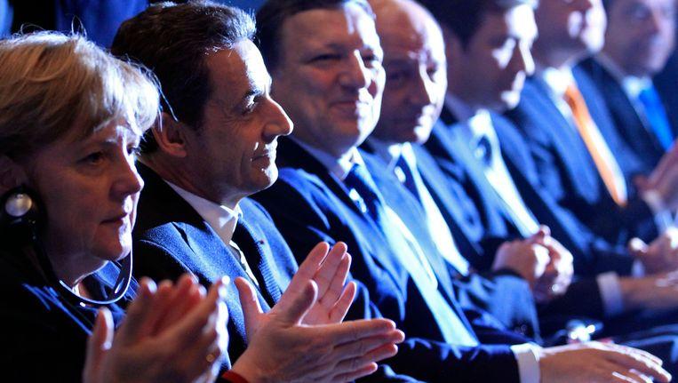 Angela Merkel, Nicolas Sarkozy en Jose Manuel Barroso. Beeld REUTERS