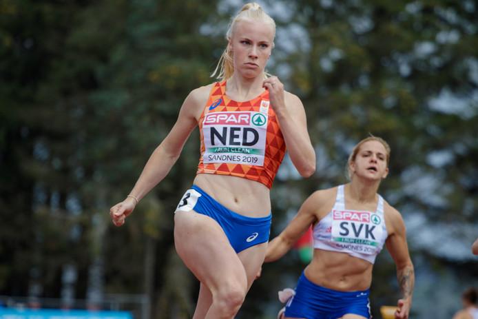 Marije van Hunenstijn in actie op de 100 meter in het Noorse Sandnes.