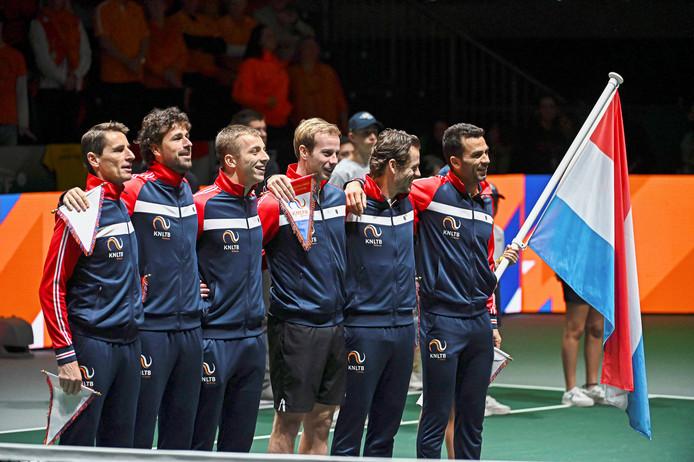 Het Nederlandse Davis Cup-team voor het duel met Kazachstan op 19 november bij de Davis Cup Finals.