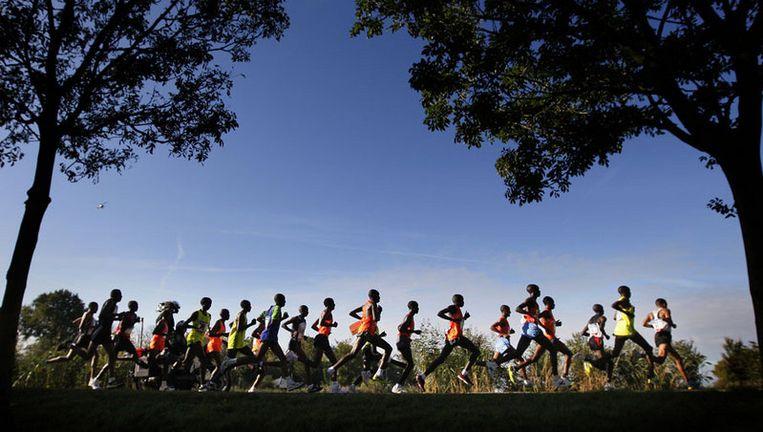 Kopgroep rent langs de Amstel. Jos Hermens, organisator van de marathon, zou graag twee ton extra willen om nog betere lopers te kunnen aantrekken. Foto ANP Beeld