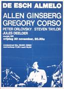 Het affiche waarop het optreden van dichter Alan Ginsberg in Almelo wordt aangekondigd. FOTO ARCHIEF MARCEL PULLEN