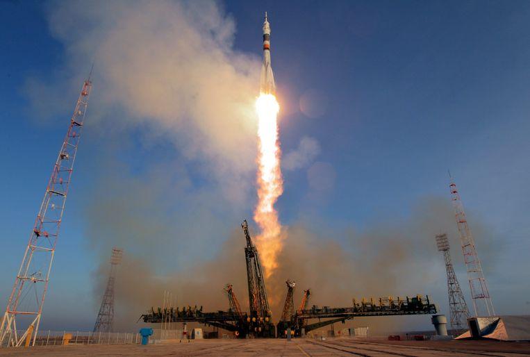 De lancering van de Sojoez-raket.
