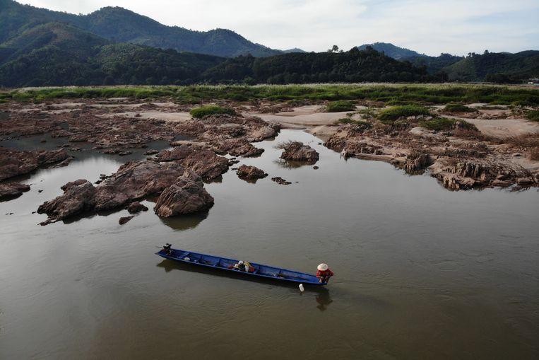 Laagstaand water in de Mekong, in het noordoosten van Thailand. Beeld ANP