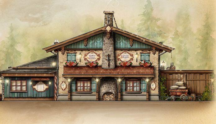 Bäckerei Krümel wordt vormgegeven in hetzelfde thema als de familieachtbaan Max & Moritz.