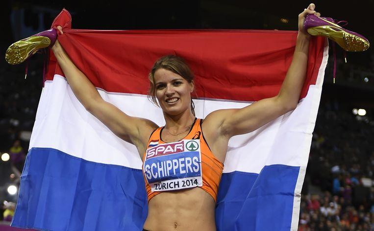 Dafne Schippers na het winnen van de 200 meter op de EK atletiek. Beeld afp