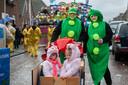 Deelnemers aan de carnavalsoptocht in Elshout, begin dit jaar.