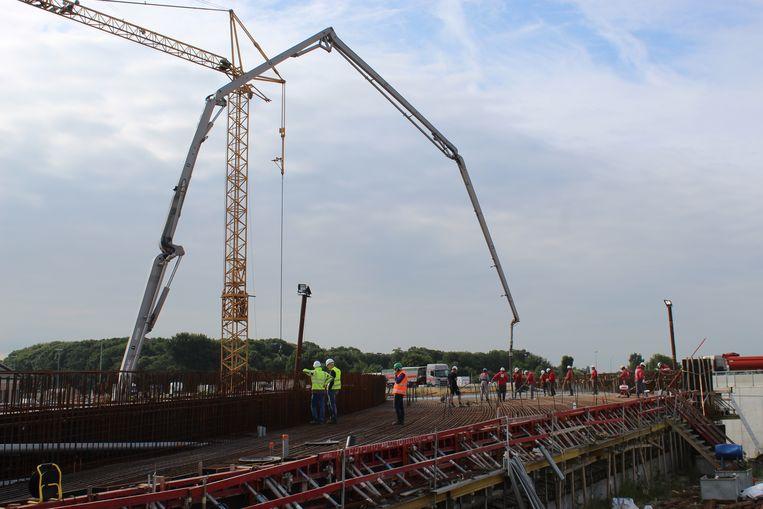 Een beeld van de werken die vorige maand al gebeurden aan de E40 in Aalter.
