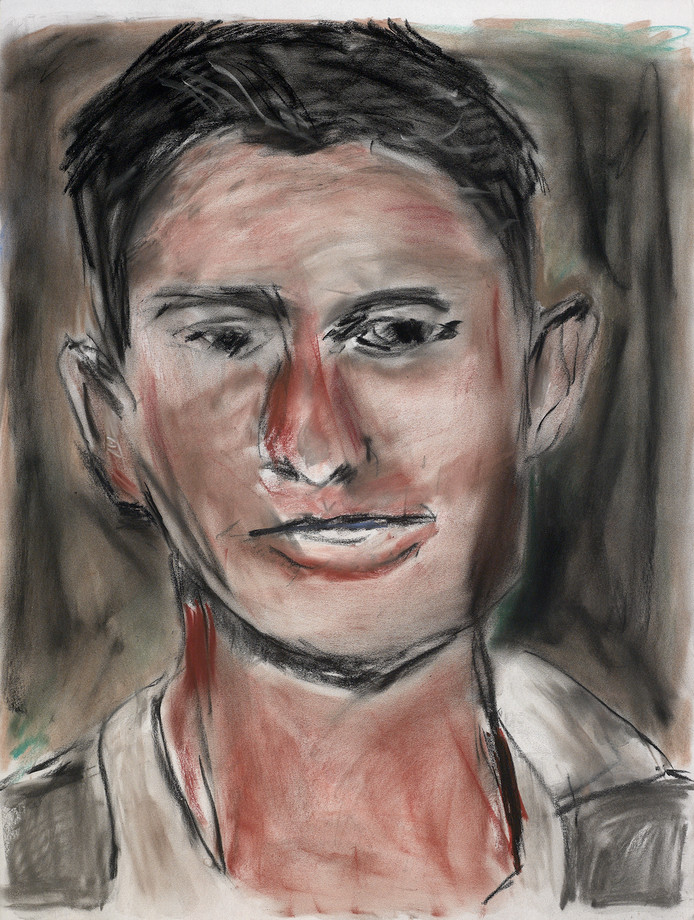 Face Off. Scott Wagner, 2012, pastel op papier 61 x 45,7 cm, The Bob and Jenny Ramsey Collection