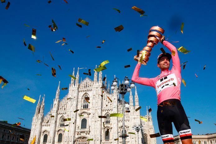 Tom Dumoulin won in de Giro 2017 twee etappes én greep de roze trui, als eerste Nederlander ooit.