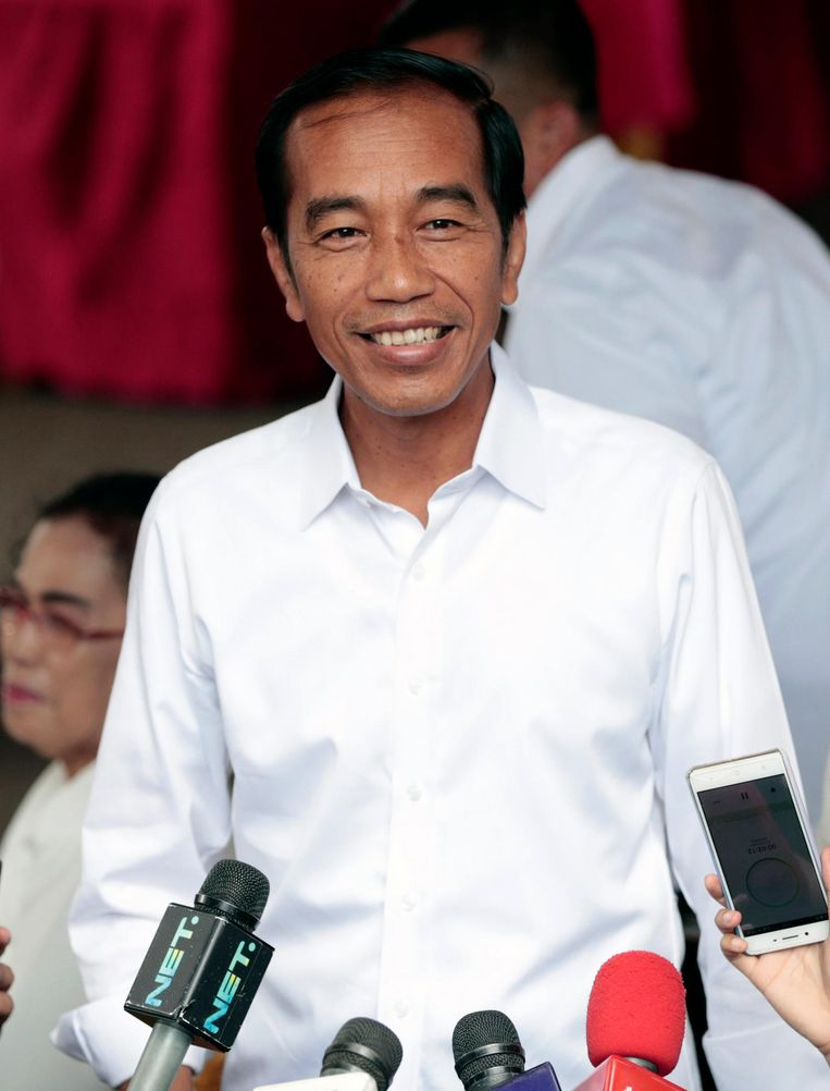 Joko Widodo, de zevende president van Indonesië mag op voor een tweede termijn. Beeld AP