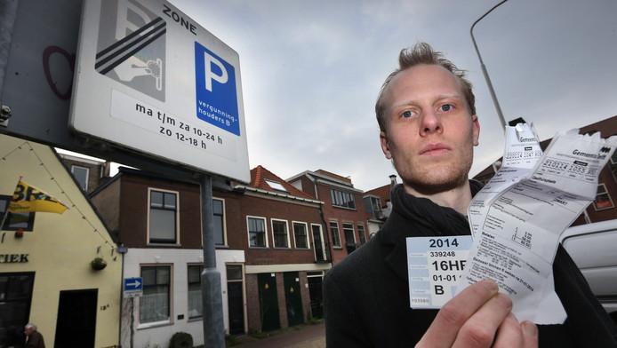 Foto ter illustratie. Op de bon in Delft.