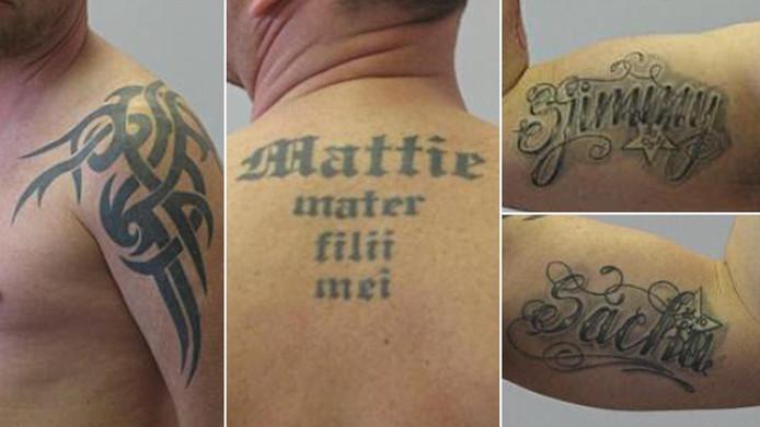 Sooi de C. heeft op zijn linkerarm een tatoeage met de naam Sacha en op zijn rechterarm de naam Sjimmy.