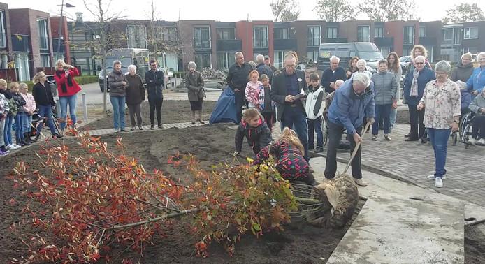 Kinderen en bewoners planten de beweegtuin in Yerseke aan.