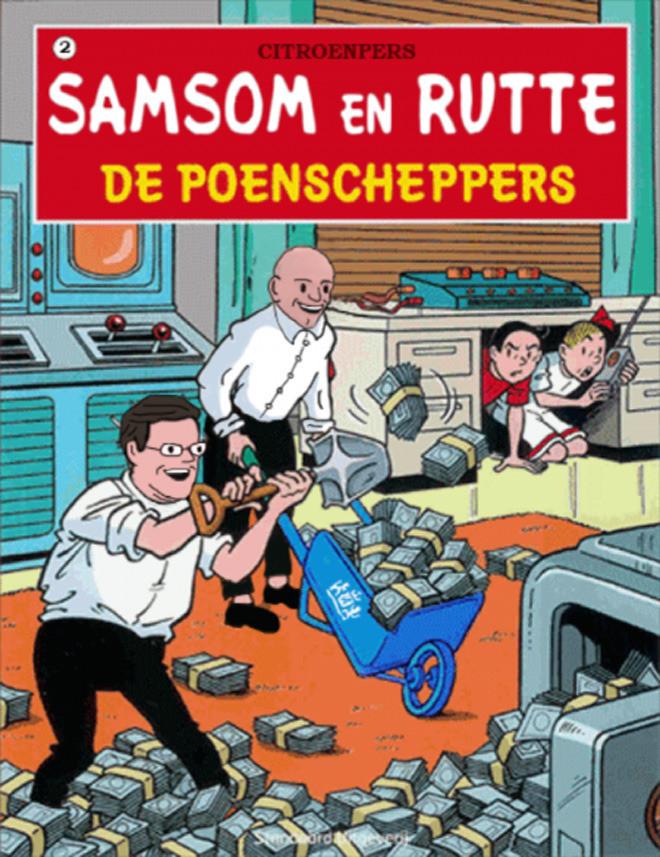 'Poenscheppers' Samsom en Rutte afgebeeld op stripcover