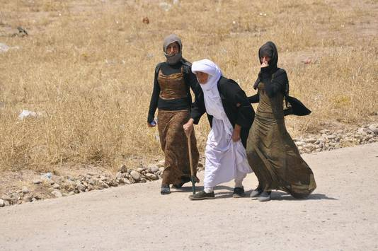 Een familie uit Sinjar op de vlucht voor IS.