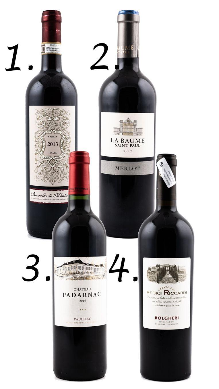 1. Brunello di Montalcino, €17,99 2. La Baume, €7,89 3. Château Padarnac, €18,95 4. Casato dei Medici Riccardi, €15,99