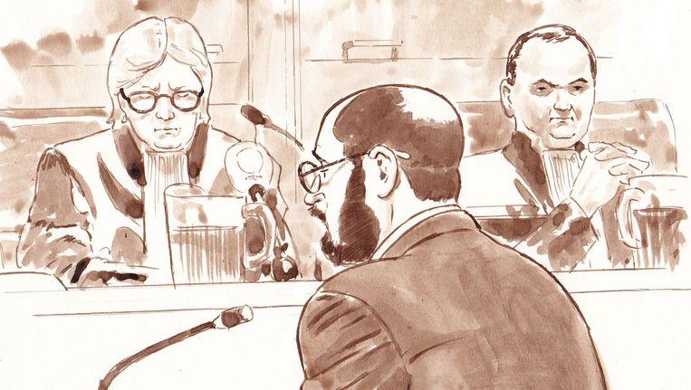 Rechtbanktekening van Bart van U. bij de rechtbank in Rotterdam. Beeld Aloys Oosterwijk/ANP