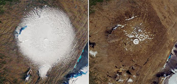 IJslandse vulkaan Ok dertig jaar geleden (l) en nu.