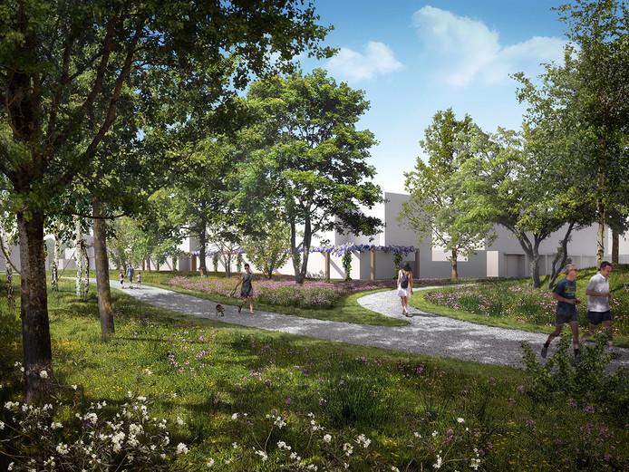 Sfeerimpressie van de nieuwe huizen in het Sesterpark op Uden-Zuid. De bewoners zijn fel gekant tegen dit plan maar de gemeente wil het doorzetten.