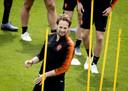 Daley Blind tijdens de training op het veld van SC Braga.
