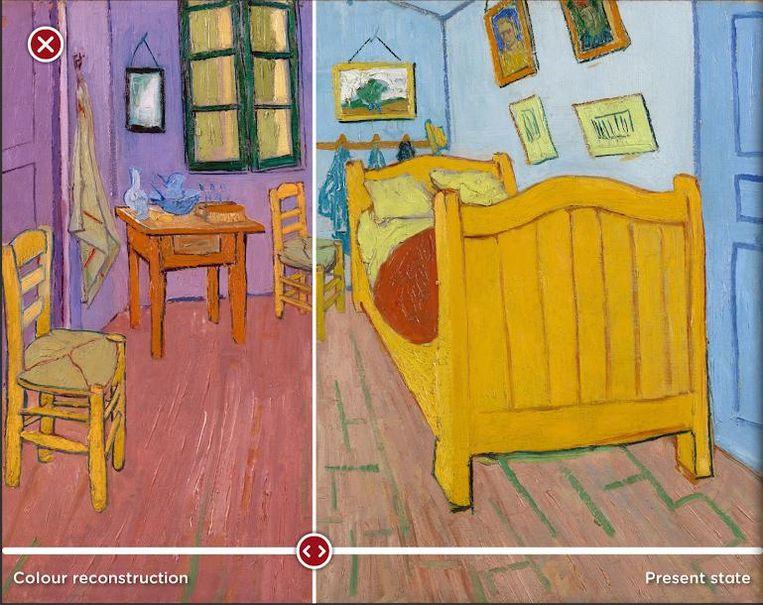 Kleurenreconstructie van 'De Slaapkamer', Vincent van Gogh. Beeld