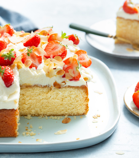 Wat Eten We Vandaag: Amandeltaart met aardbeien